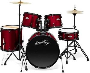 Ashthorpe Full-Size Adult Drum Set Red