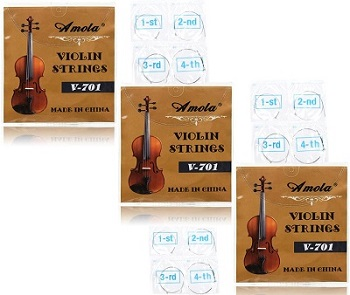 Jiaoguo 3 Packs Full Set Replacement Stainless Steel Violin Strings