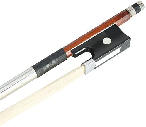 YR-Seasons Violin Bow Black Handle Pure Handmade Well Balanced Arbor White Horse Hair Fiddle Music Instrument Accessories