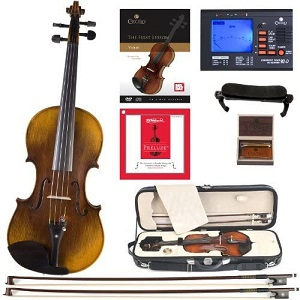 Cecilio CVN-600 Hand Oil Rub Highly Flamed 1-Piece Back Solidwood Violin with D'Addario Prelude Strings