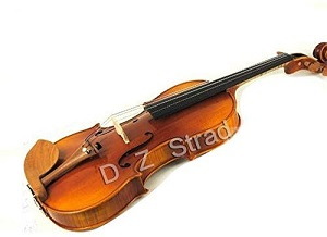 D Z Strad Model 220 4 4 Full Size Violin with Dominant strings, bow, case, rosin and shoulder rest-Open Clear Tone